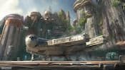 The Millennium Falcon from Star Wars, docked with its ramp down in front of advanced cliff dwellings