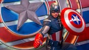 Captain America poses with his shield