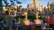 マジックキングダム・パークのシンデレラ城近くに設置されたミッキーマウスとミニーマウスの黄金の彫像の周りに集まるゲストたちを描いたアーティストコンセプト