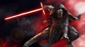 Kylo Ren holds a lightsaber