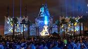 An outdoor Star Wars light show