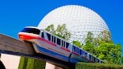 The Disney Monorail passing Spaceship Earth