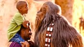 A little boy sits on his dad's shoulders and looks Chewbacca in the eyes