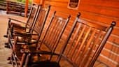A row of rocking chairs