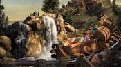 Passengers enjoy the Seven Dwarfs Mine Train as it careens past a waterfall