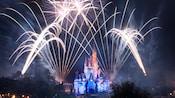 Fireworks light the night sky above Cinderella Castle