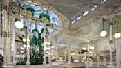 The inside of Crystal Palace with a buffet and hanging plants
