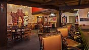 The inside of Yak and Yeti Restaurant with tables and chairs