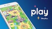 Um smartphone com um mapa do Walt Disney World aberto perto de palavras sobrepostas em que se lê Play Disney Parks