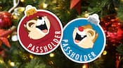 Two magnets shaped like Christmas ornaments featuring Chip and Dale