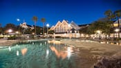 A swimming pool at Disney's Beach Club Resort is designed to look like a tidal pool with sand