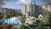 The swimming pool at Disney's Riviera Resort, with a water slide and a gazebo