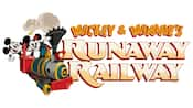 The logo to Mickey and Minnie's Runaway Railroad features Mickey and Minnie on a small train engine