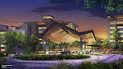 An illustration of Reflections A Disney Lakeside Lodge, a deluxe, nature-inspired resort coming soon to the Walt Disney World Resort near Orlando, Florida