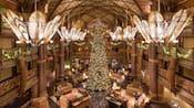 The lobby of Disney's Animal Kingdom Lodge, decorated for Christmas