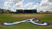 The A shaped logo of the Atlanta Braves adorns a baseball field at Disney's ESPN Wide World of Sports Complex
