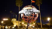 The ESPN Wide World of Sports Complex globe sculpture at night