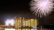 Fireworks over the multistory Bay Lake Tower at Disney's Contemporary Resort