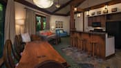 The interior of a villa, with a mix of wooden and upholstered furniture and a kitchen