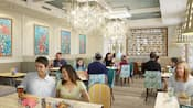 A dining area with tables, chairs, Guests eating, chandeliers and paintings on the wall.