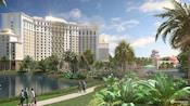 The tropical gardens and lake fronting Gran Destino Tower at Disneys Coronado Springs Resort