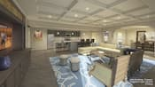 A luxury suite with an open floor plan reveals a full sized kitchen, living room and dining room