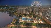 Fuegos artificiales estallan en el cielo sobre Disney's Riviera Resort por la noche