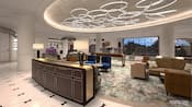 An elegant resort lobby, designed with midcentury modern décor