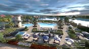 A stunning pool by table seating and lounge seating, with a  water slide and  views of a body of water. Disclaimer text says, Computer generated renderings, furnishing and floor plan are proposed and subject to change