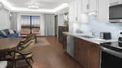 The kitchen area of a Resort suite has a sink, oven, dishwasher and a dining table