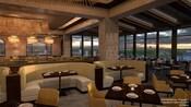 Un restaurante con vistas panorámicas del hotel y muebles modernos