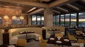 Um restaurante com vista panorâmica do Resort e móveis modernos