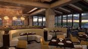 A restaurant with panoramic Resort views and modern furniture