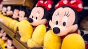 Minnie and Mickey plushies on shop shelves