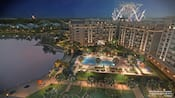 An artist rendering of Disney's Riviera Resort illuminated at night with fireworks blasting off in the sky
