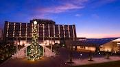 Encendió el árbol de Navidad delante de un recurso contemporáneo iluminado de Disney en la noche