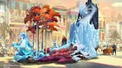 Concept art of a large icy looking parade float with Frozen Characters Anna, Elsa and Olaf.