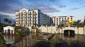 The hotels front entrance, water park and parking areas