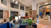 A lobby with modern architecture, art and furniture
