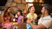 A family in the lobby of Disney's Grand Californian Hotel & Spa