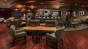 A mahogany floor, comfortable chairs and elegant lighting set the mood at Steakhouse 55