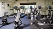 A fitness centre with exercise equipment