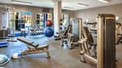 Fitness center equipped with weight machines, treadmills, balance balls and free weights with pool area beyond