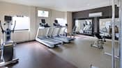 Workout room with 2 treadmills, elliptical machine, weight bench and weight training equipment