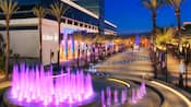 A sparkling fountain and winding stream at the Hilton Anaheim lit up at night