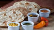 Indian-style bread service with 4 dipping sauces