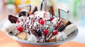 Un tazón con forma de lavaplatos lleno de helado, galletas, caramelos, pastel, crema batida y frutas