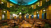 25-foot tall tree in center of dining room, surrounded by lights, tables and chairs