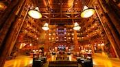The main lobby of Disney's Wilderness Lodge Resort