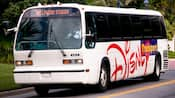White shuttle bus with 'Disney Transport' on the side and the destination of 'Hollywood Studios' in the front window